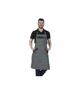 Barista Denim Long Apron with Leather