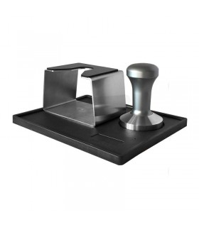 Tamping Station with Silver Tamper 58mm