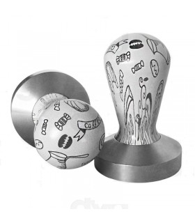Barista Shop White Tamper with Prints 58mm