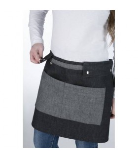 Barista Short Jean Apron with Grey Pockets