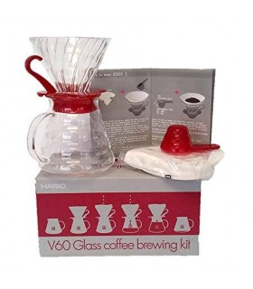 Hario V60 02 Pour Over Glass Kit 600ml Red