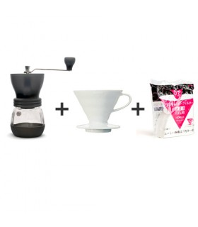Πακέτο brewing 2 - Hario Skerton + Dripper V60 + Φίλτρα